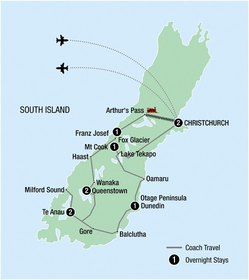 10 Day Ultimate South Island Escape map