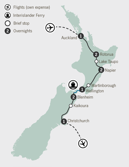Map of 10 Day New Zealand Food and Wine Self Drive