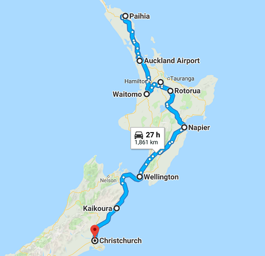 Map of 11 Day Northern Motorhome Self Drive