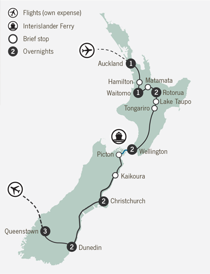 Map of 14 Day Scenes of New Zealand Self Drive