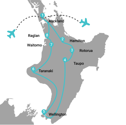 Map of 12 Day Lord Of The Rings North Island Motorhome Adventure