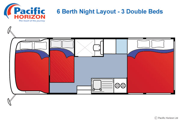 Pacific Horizon 6 Berth Motorhome Night Time
