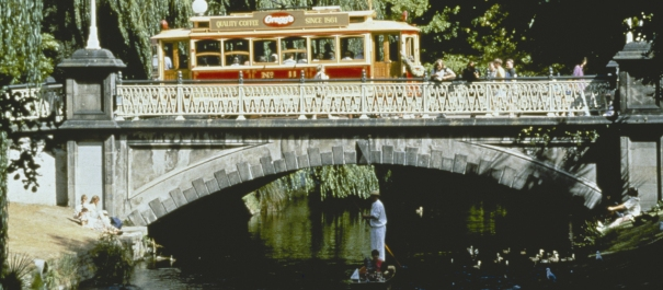 Christchurch Tram on a bridge