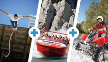 Triple Thriller: Jetboat, Bungy, Twin-Seat Quad Bike for Two
