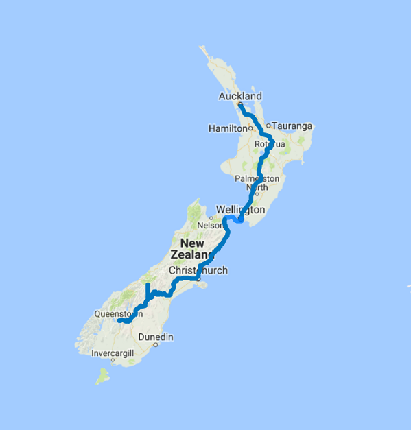 Map of 11 Day Auckland to Queenstown Highlights Self Drive