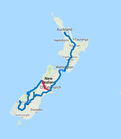 Map of 17 Day Northbound Christchurch to Auckland Self Drive