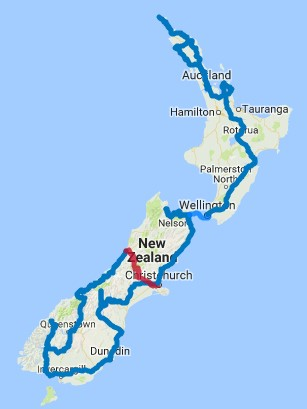 Map of 30 Day Northbound Self Drive Adventure