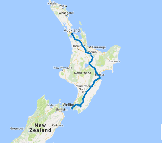 Map of 10 Day Auckland to Wellington Highlights Self Drive
