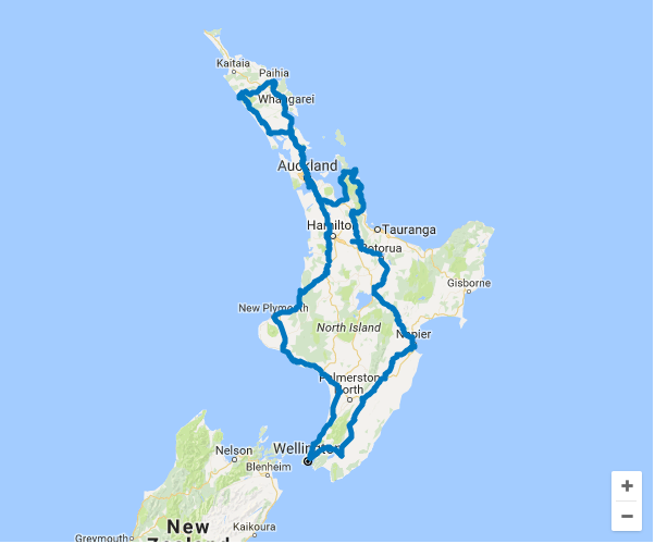 Map of 21 Day Ultimate North Island Self Drive