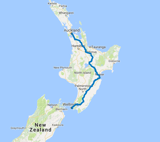 Map of 6 Day Auckland to Wellington Highlights Self Drive
