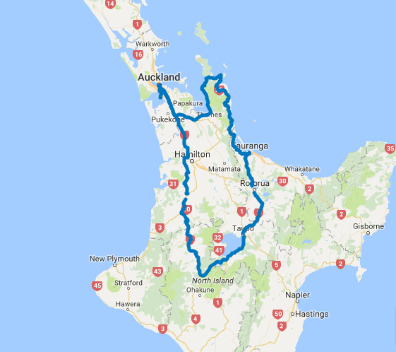 Map of 7 Day Central North Island Explorer Self Drive