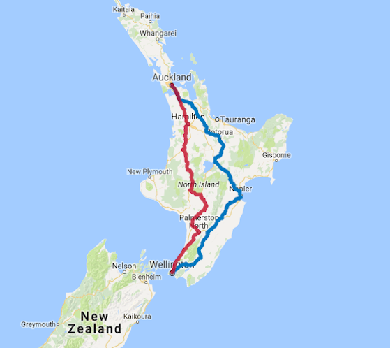 Map of 9 Day North Island Highlights Self Drive with Northern Explorer Train