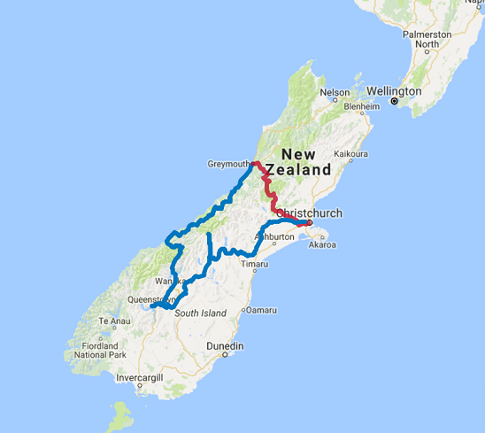 Map of 12 Day Routeburn Track Guided Walk and Southern Highlights from Queenstown