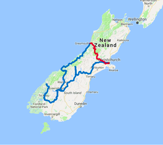 Map of 14 Day Southern Highlights Self Drive and Milford Track Guided Walk