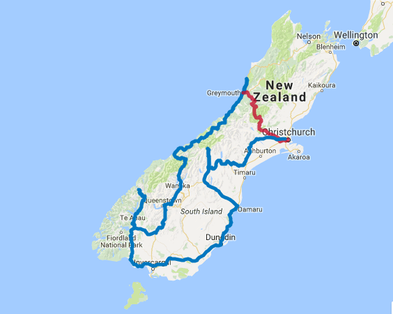 Map of 15 Day South Island Spectacular Self Drive
