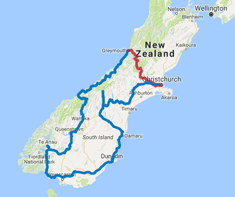 Map of 8 Day Southern Highlights Self Drive