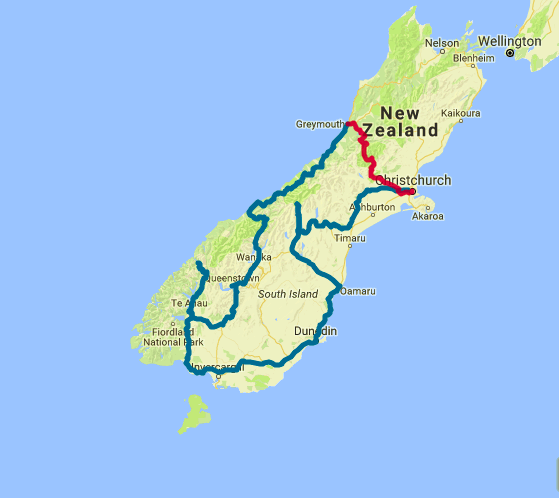 Map of 9 Day Southern Highlights Self Drive