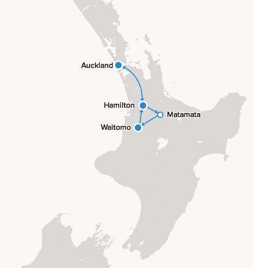 Map of 4 Day Waikato Explorer Self Drive